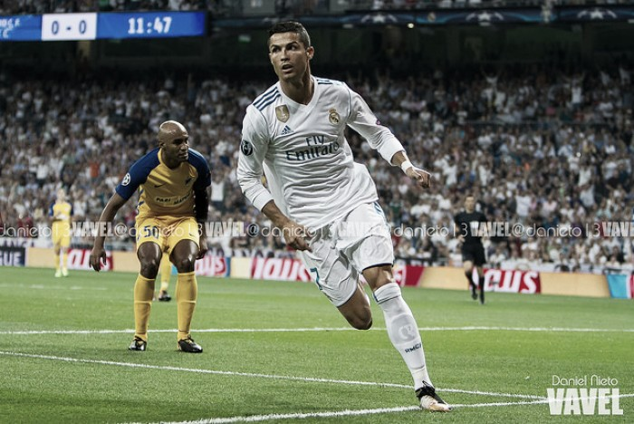 Cristiano retorna marcando dois e atual bicampeão Real Madrid passa fácil pelo APOEL