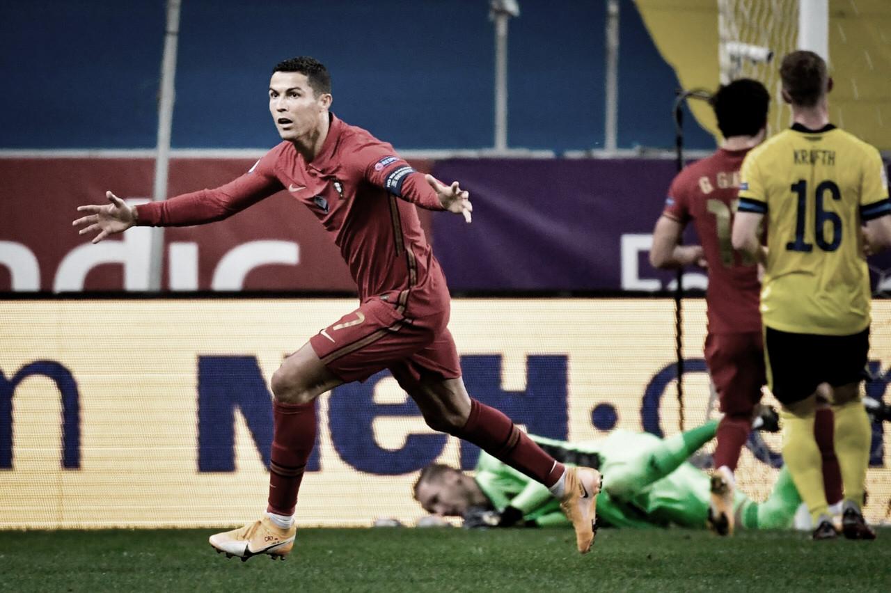Cristiano Ronaldo fez os gols em Suécia 0x2 Portugal (UEFA/Divulgação)