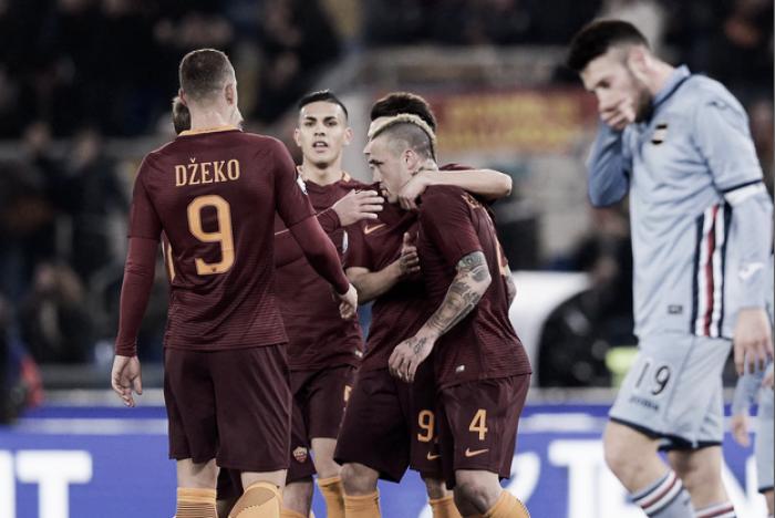 Coppa Italia 2016/17 - Troppa Roma agli ottavi per una coraggiosa Samp: 4-0 all'Olimpico