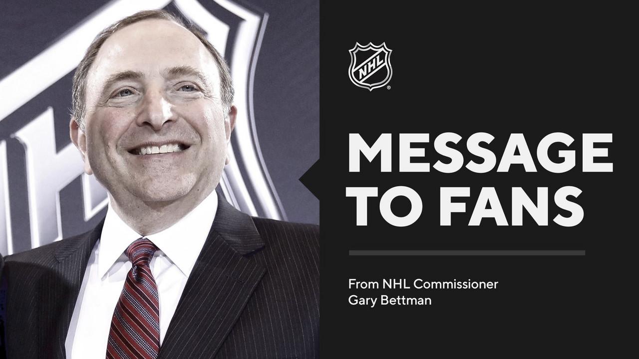 El comisionado de la NHL se dirige a los aficionados con agradecimientos