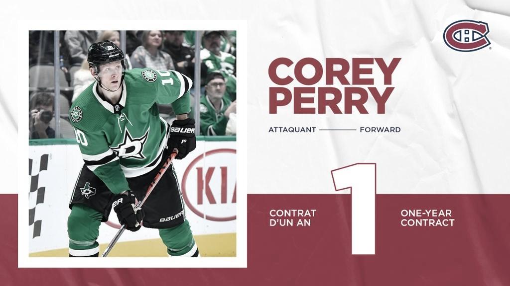 Corey Perry será el nuevo atacante de Montreal Canadiens
