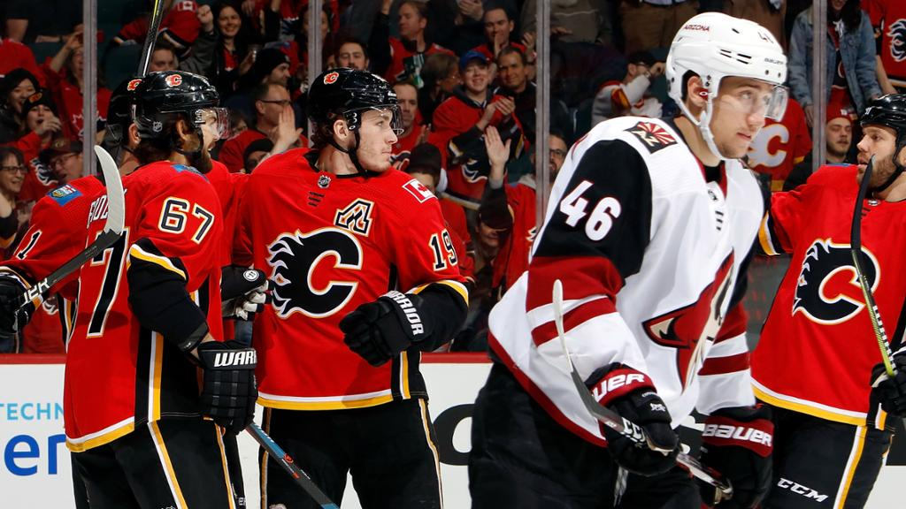 Calgary Flames outplay Arizona Coyotes in Alberta in a 7-1 game