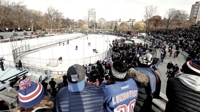 Los Rangers se preparan al aire libre para el Winter Classic