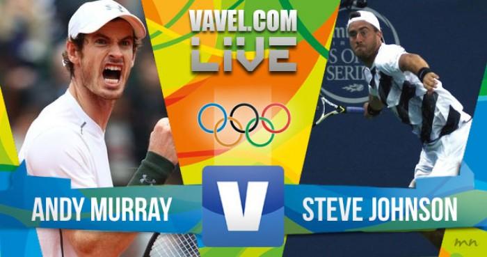 Resultado Andy Murray x Steve Johnson no tênis masculino dos Jogos Olímpicos 2016 (2-1)