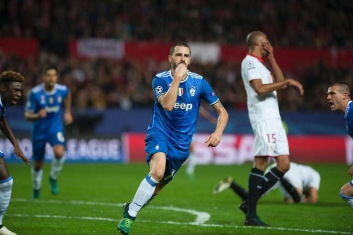 Tiro mancino di Bonucci al Siviglia: la Juve sbanca il Pizjuan (1-3)