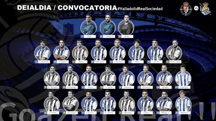 Convocatoria de la Real Sociedad frente al Real Valladolid