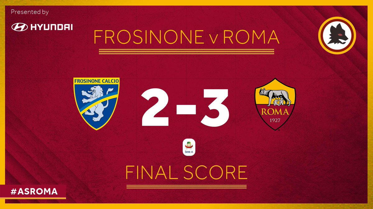 Serie A - La Roma vince in rimonta a Frosinone e rimane attaccata al Milan (2-3)