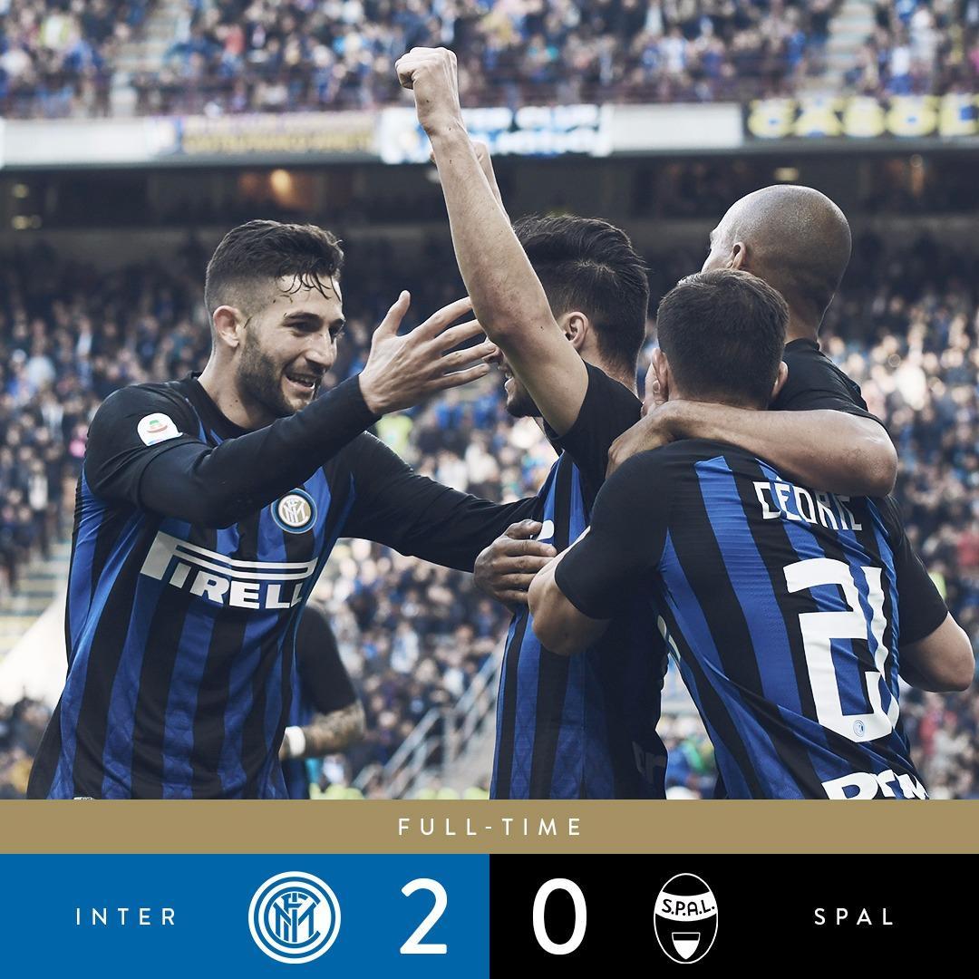 Serie A - L'Inter tiene il passo del Milan: 2-0 alla Spal