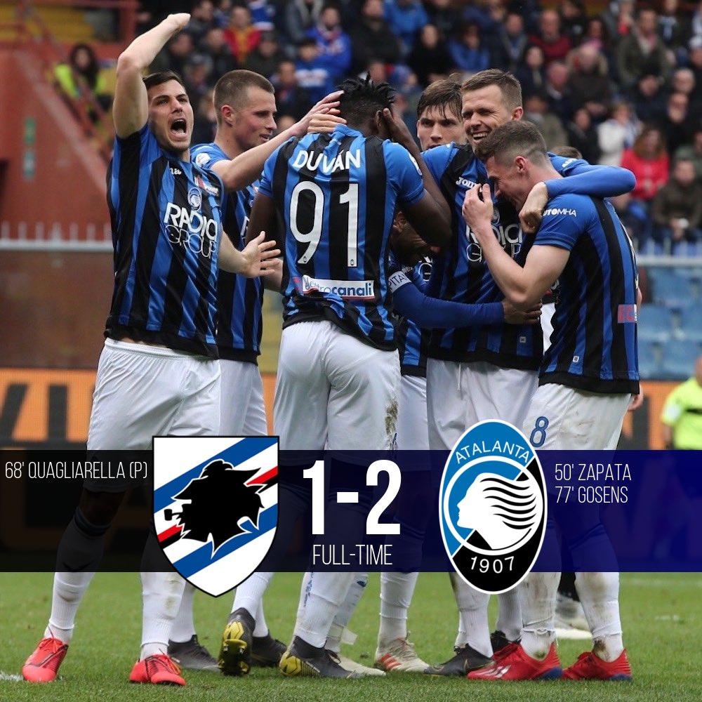 Serie A - L'Atalanta espugna il Ferraris: battuta la Sampdoria 1-2
