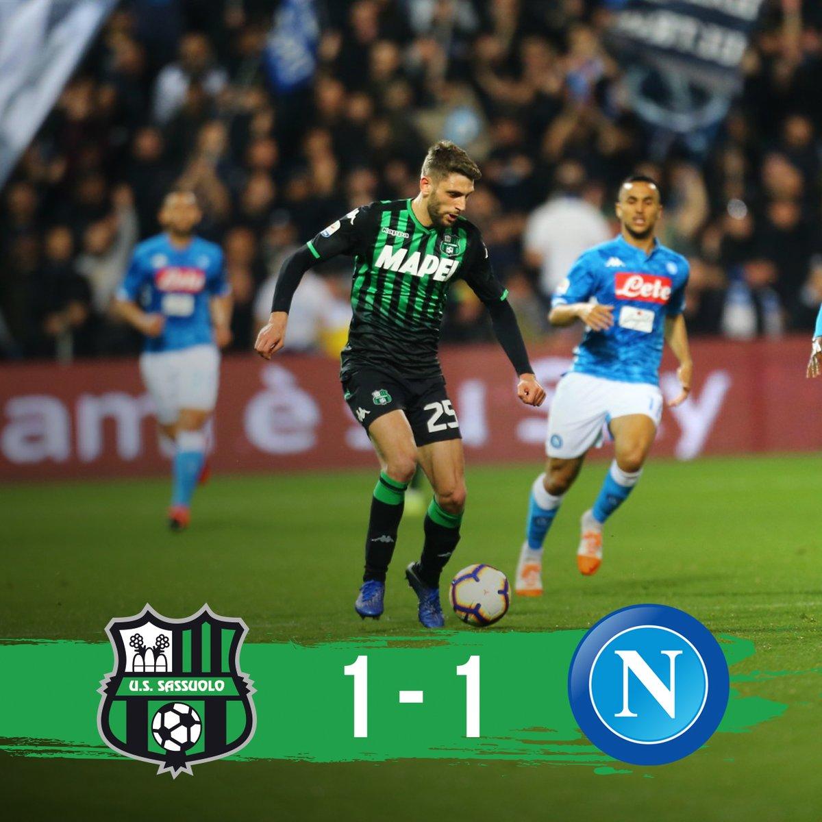 Serie A- Insigne nel finale risponde a Berardi. Il Sassuolo ferma il Napoli in casa (1-1)