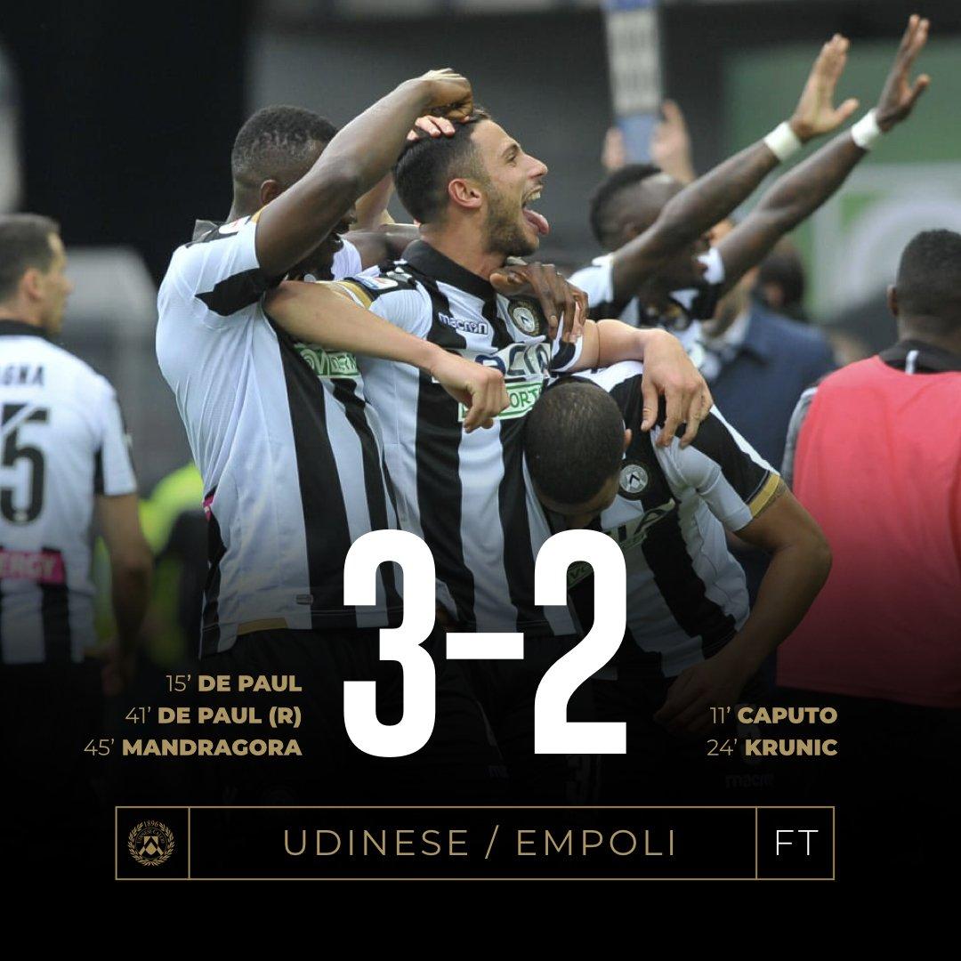 Serie A - L'Udinese batte l'Empoli in una partita folle (3-2)