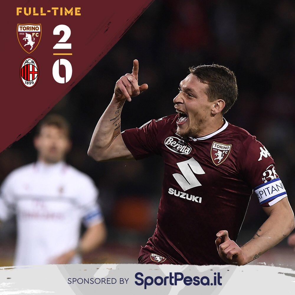 Serie A - Il Torino mette il Milan al tappeto: 2-0 per i granata che sognano la Champions