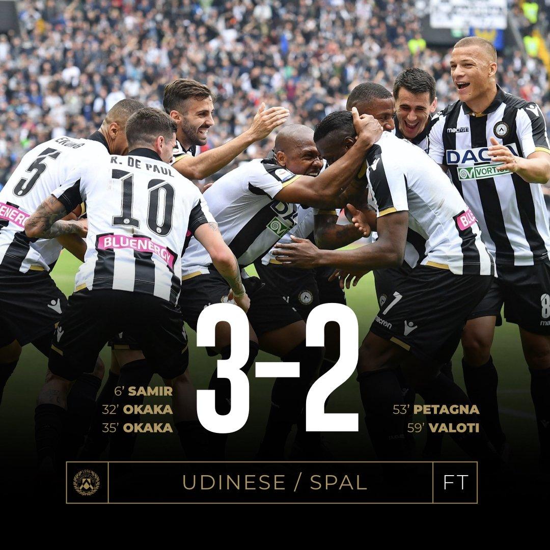 Serie A - Ancora Okaka show, l'Udinese batte anche la SPAL (3-2)