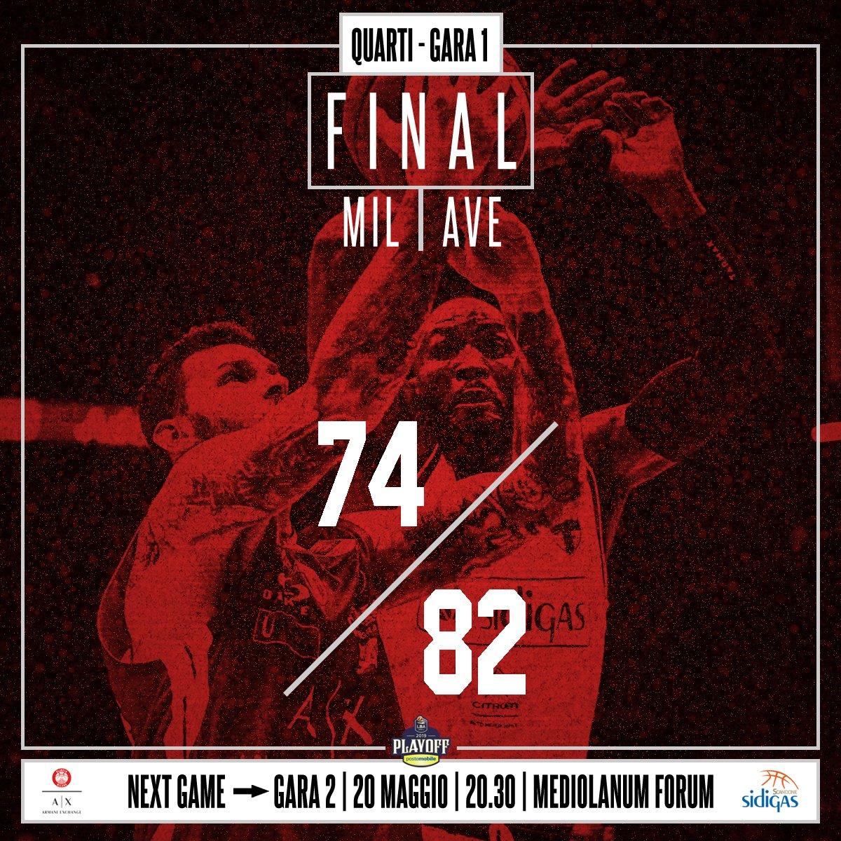 Legabasket, quarti di finale - Prima sorpresa: Avellino si impone in gara 1 contro la capolista Milano (74-82)