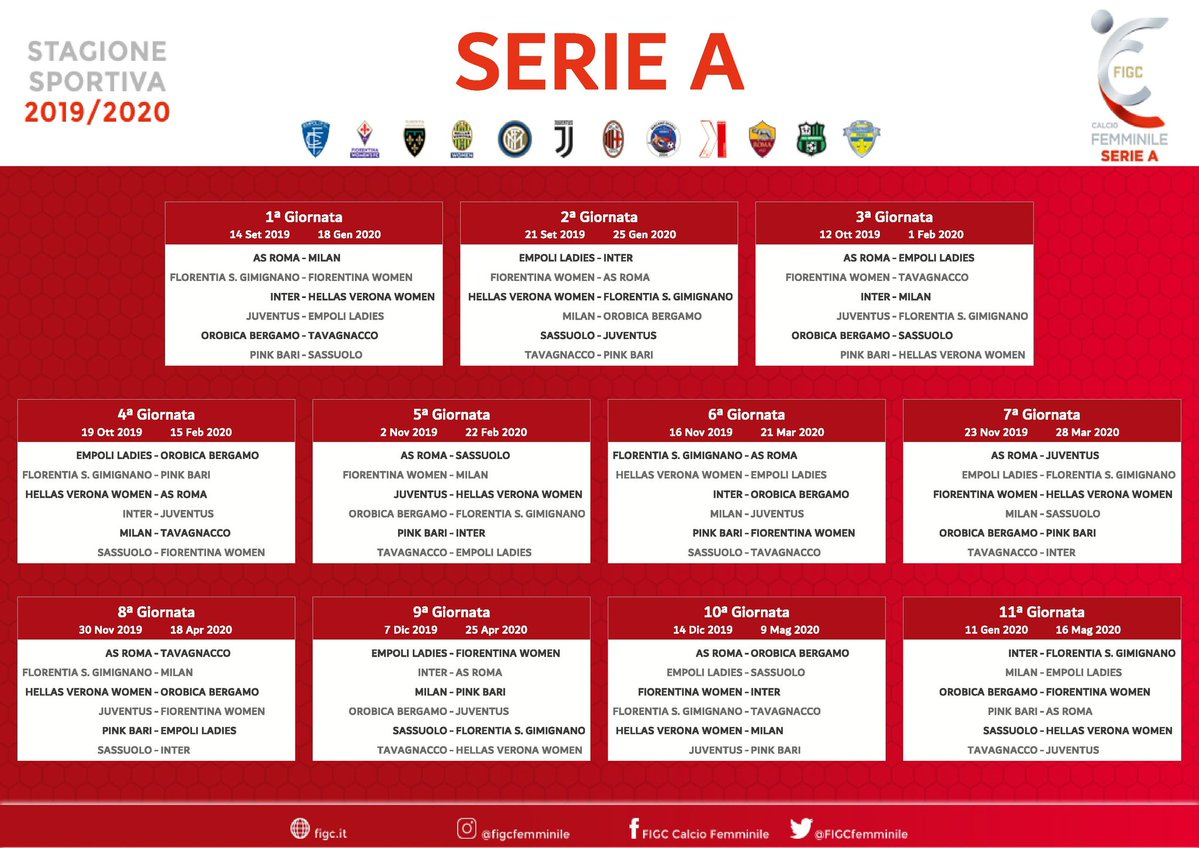 Calendario Iuve.Serie A Femminile Ecco Il Calendario La Juve Parte Con L