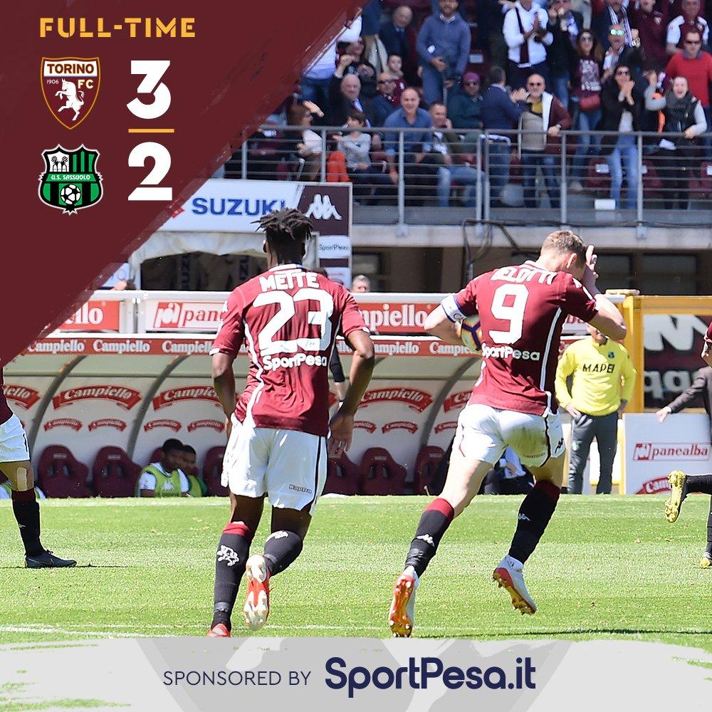 Serie A- Belotti sbaglia un rigore ma si fa perdonare, il Toro batte il Sassuolo in rimonta (3-2)