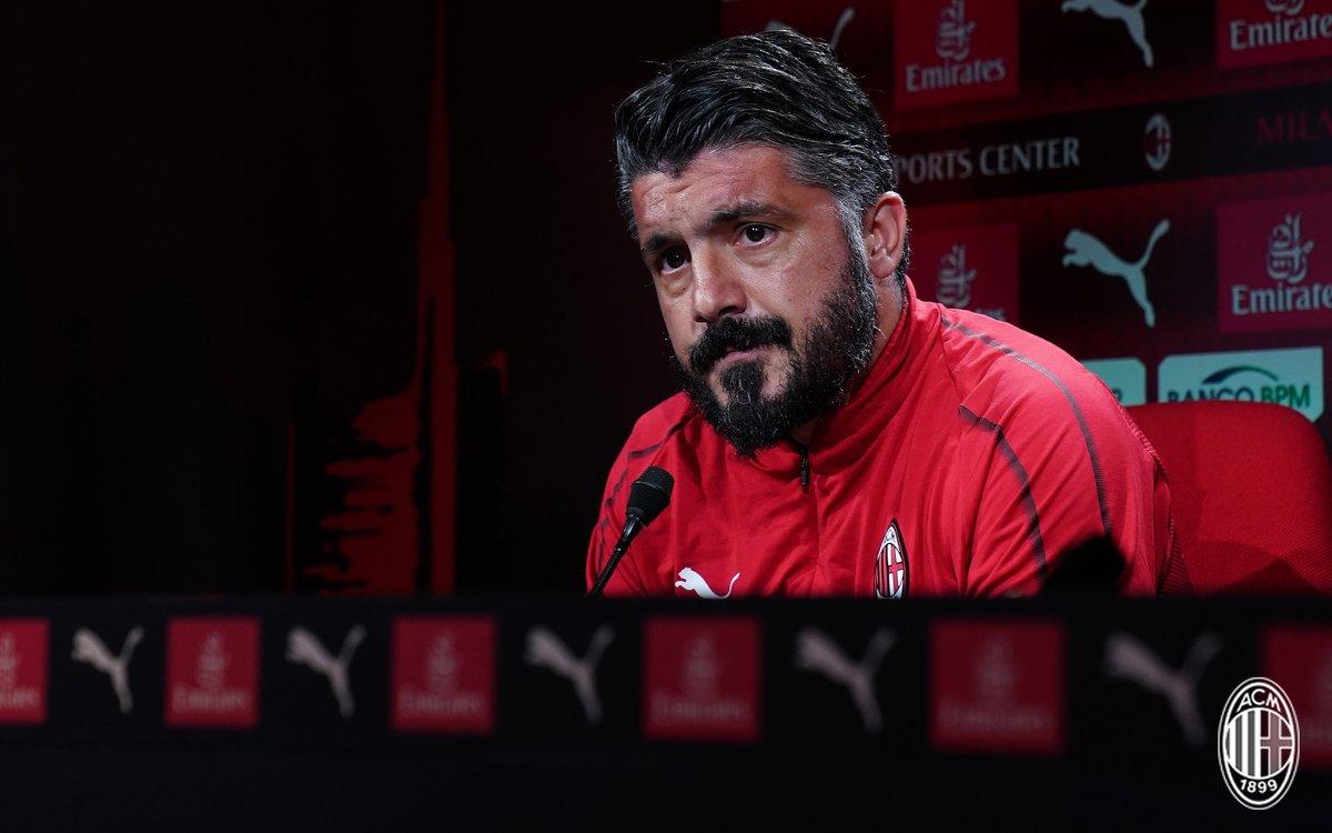 """Milan, la conferenza stampa di Gattuso: """"Non mi è stata chiesta la Champions"""""""