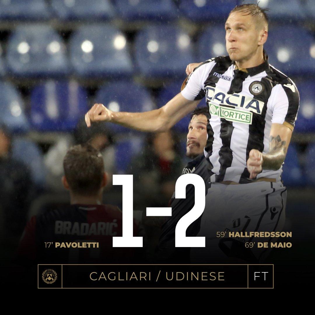 Serie A - Nell'intervallo Tudor ribalta i suoi e l'Udinese vince in Sardegna (1-2)