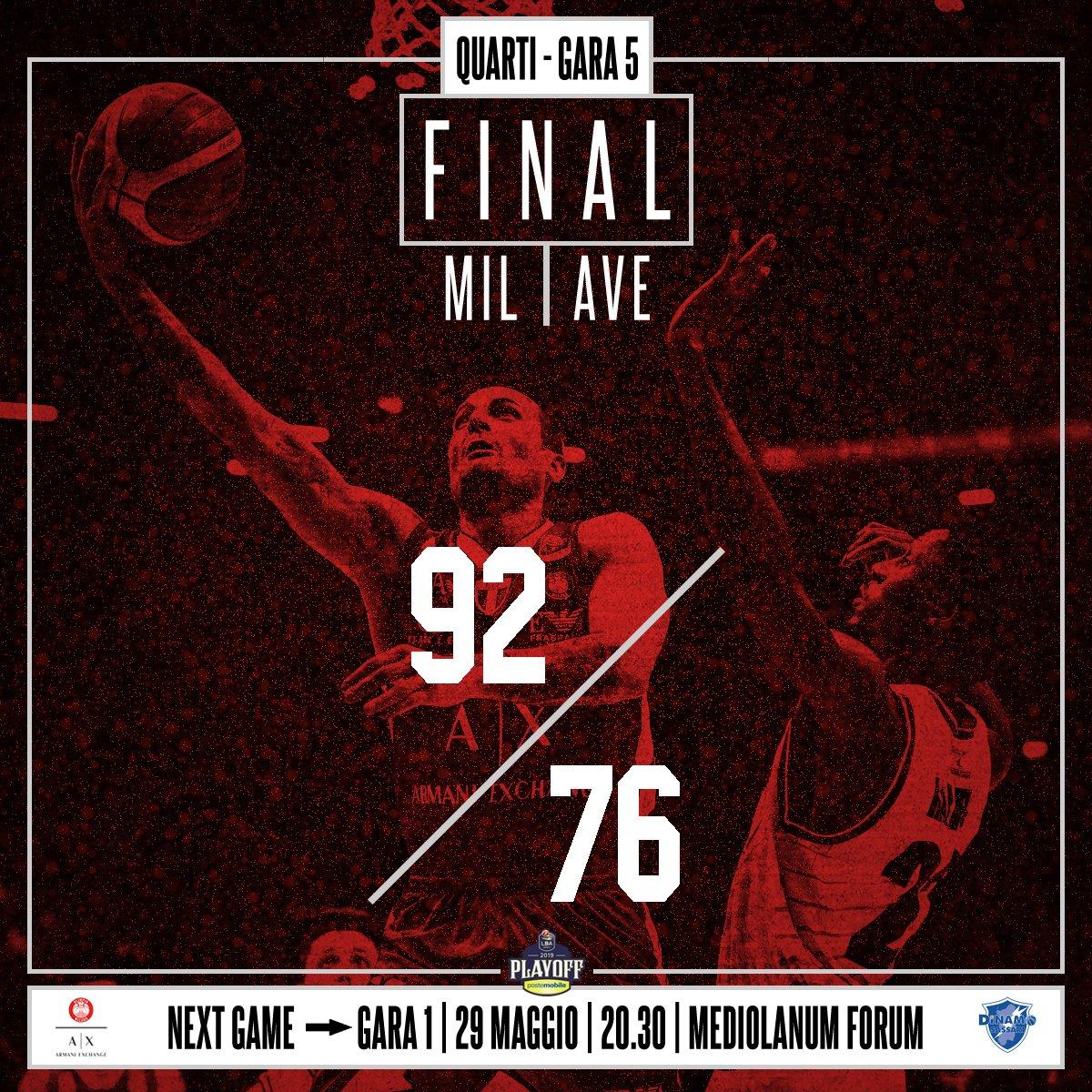 Legabasket - Milano fa sua gara 5 e vola in semifinale: sconfitta Avellino per 92-76