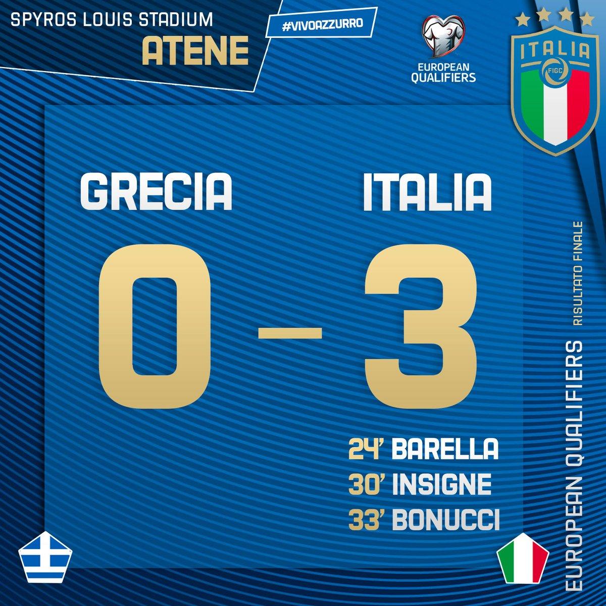 Qualificazioni Euro 2020 - L'Italia batte 3-0 la Grecia: gli azzurri vincono e convincono ad Atene