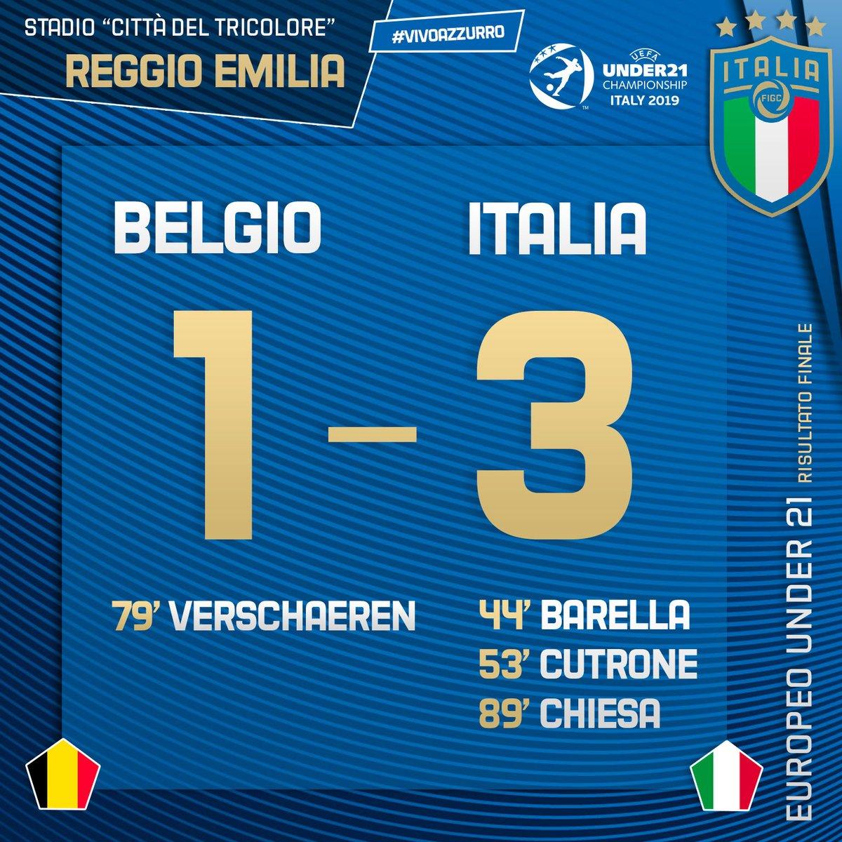 Under 21 - L'Italia vince contro il Belgio per 3-1 ma non basta: è la Spagna prima nel girone
