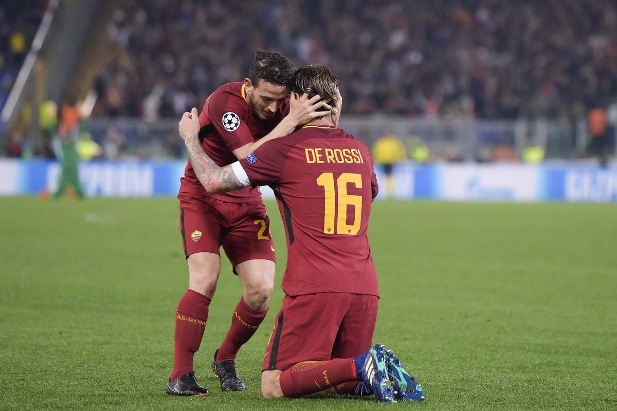 Roma, sei in semifinale: la gioia di De Rossi e Manolas