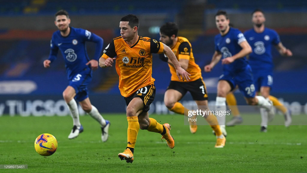 Daniel Podence looks to set Wolves on a rare attack at Stamford Bridge.  (Photo by Neil Hall - Pool/Getty Images 2021)