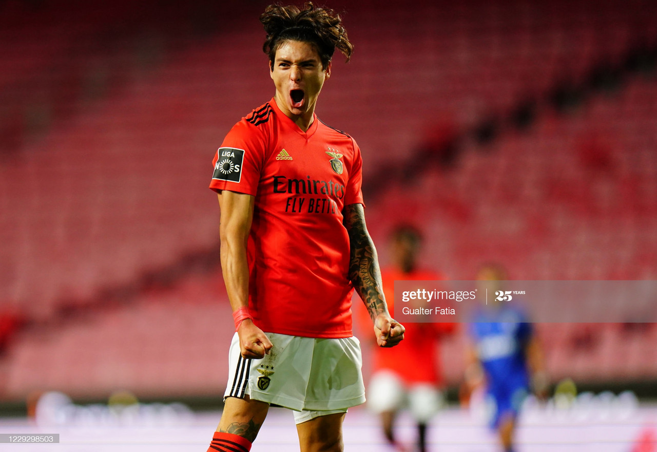 <div>LISBON, PORTUGAL - OCTOBER 26: Darwin Nunez of SL Benfica celebrates after scoring a goal during the Liga NOS match between SL Benfica and Belenenses SAD at Estadio da Luz on October 26, 2020 in Lisbon, Portugal. (Photo by Gualter Fatia/Getty Images)</div><div><br></div>