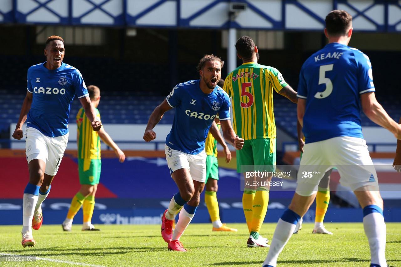 Everton 5-2 West Brom: Calvert-Lewin hat-trick sends Everton top of the Premier League