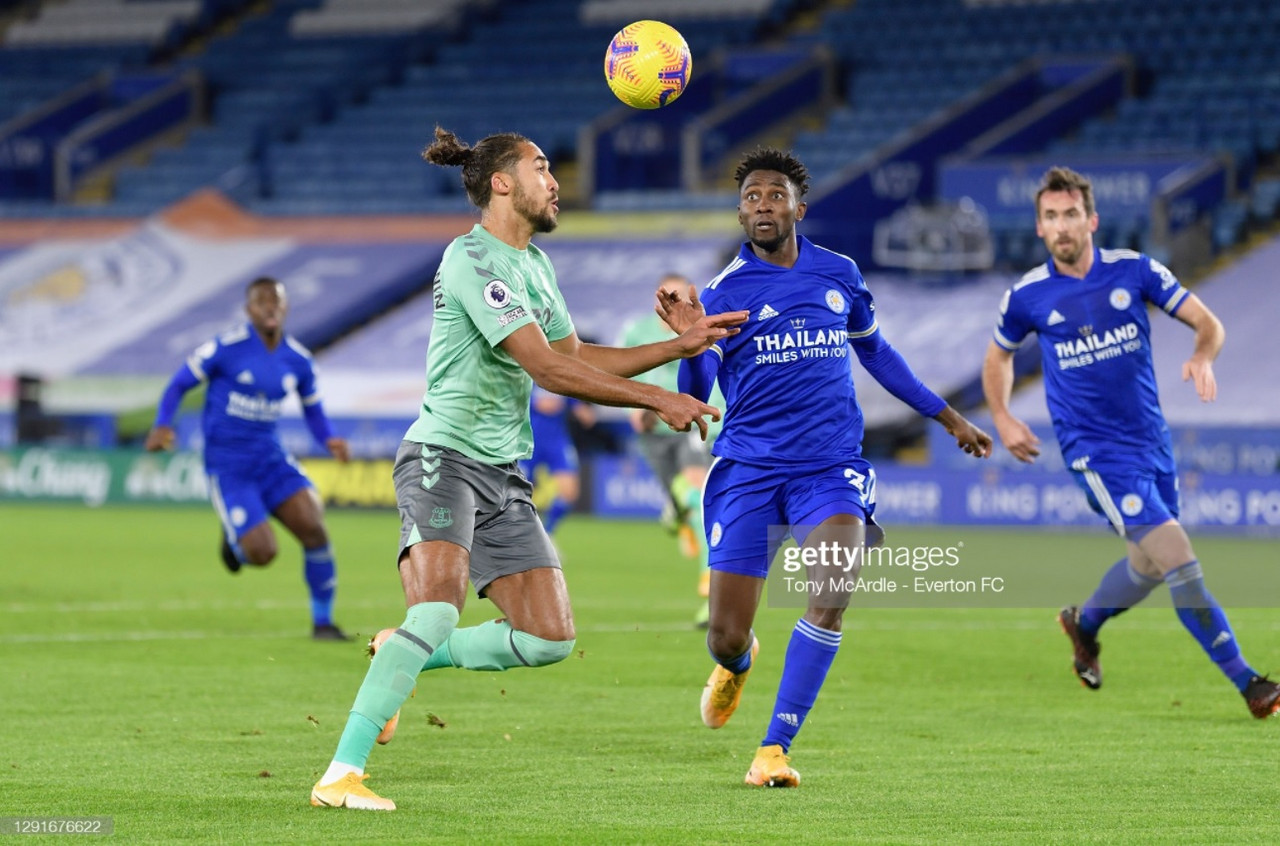 Wilfred Ndidi challenges Dominic Calvert-Lewin in Everton's 2-0 win at the King Power Stadium | Photo: Getty/ Tony McArdle - Everton FC