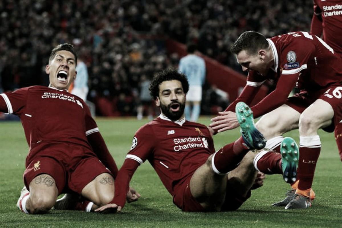 """Primeira parte de sonho coloca Liverpool com """"pé e meio"""" nas meias-finais da Champions"""