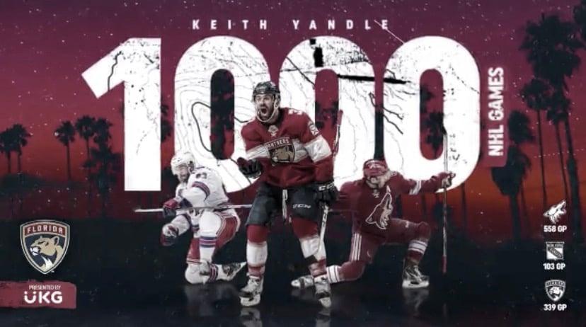 Keith Yandle alcanza los 1000 partidos en la NHL