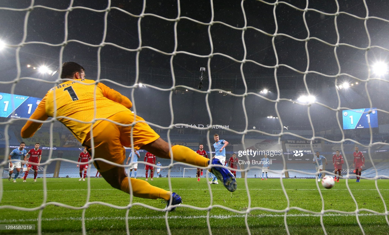 <div>MANCHESTER, ENGLAND - NOVEMBER 08: Kevin De Bruyne of Manchester City misses a penalty during the Premier League match between Manchester City and Liverpool at Etihad Stadium on November 08, 2020 in Manchester, England. Sporting stadiums around the UK remain under strict restrictions due to the Coronavirus Pandemic as Government social distancing laws prohibit fans inside venues resulting in games being played behind closed doors. (Photo by Clive Brunskill/Getty Images)</div><div><br></div>