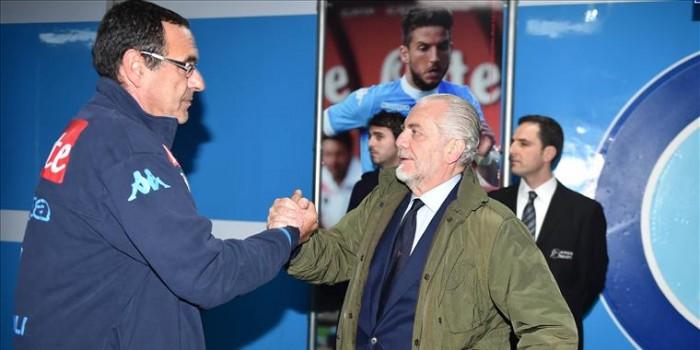 """Rinnovo Sarri, la soddisfazione di De Laurentiis: """"Poste le basi per quattro anni fantastici"""""""