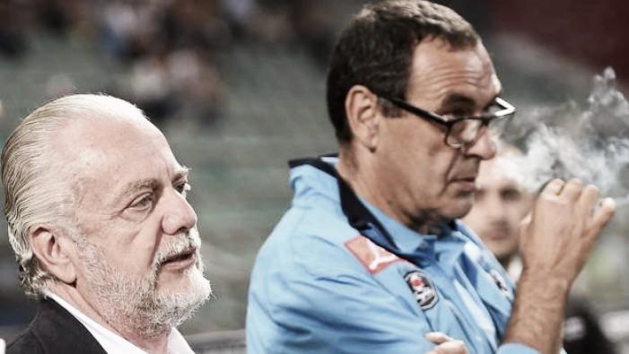 """Napoli, De Laurentiis risponde a Sarri: """"Decisioni sfavorevoli, ma vanno accettate"""""""