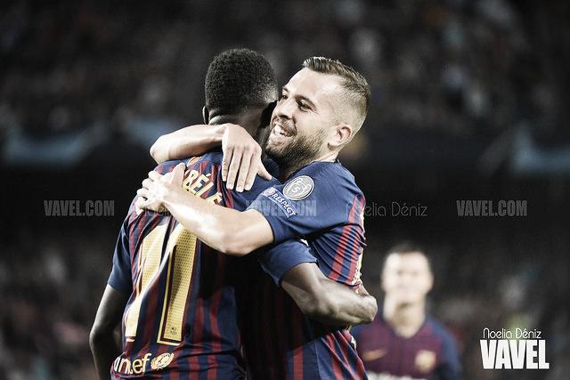 Dembélé divierte al Camp Nou