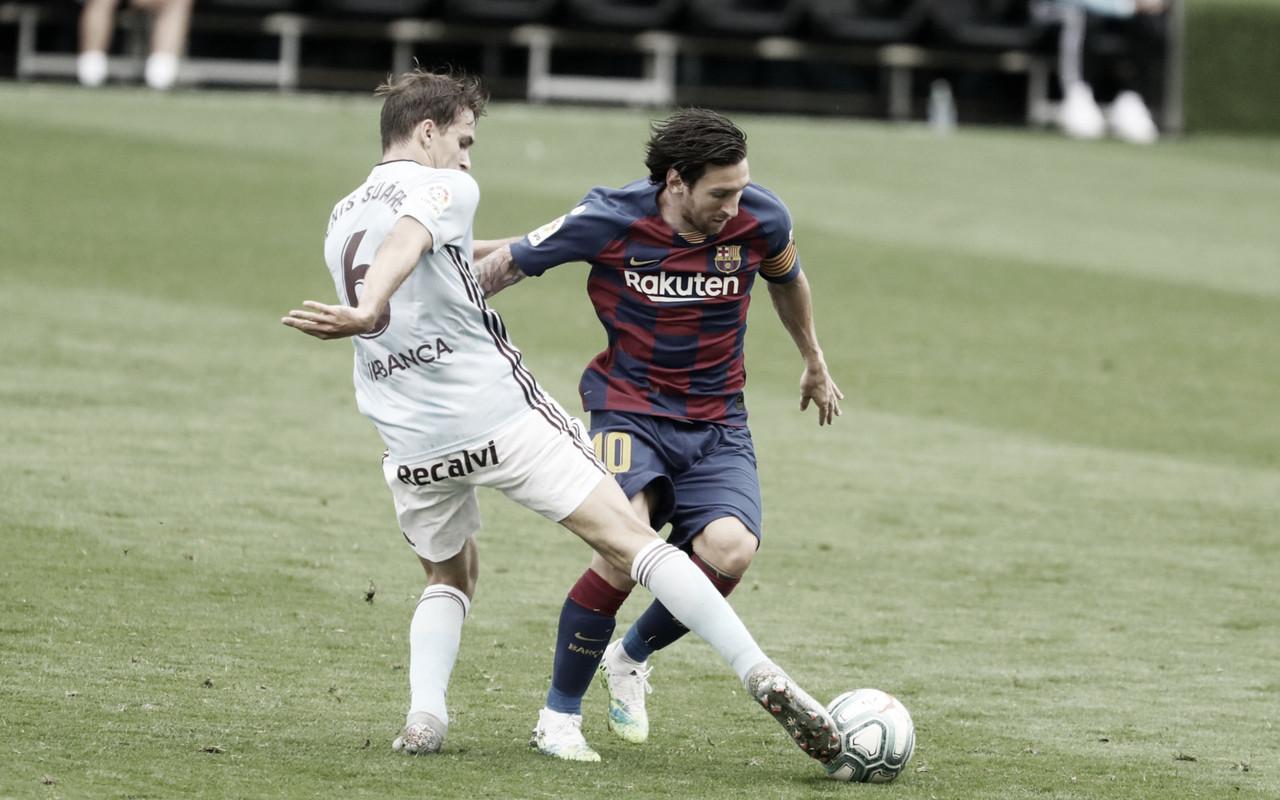 Denis Suárez en una disputa de balón con Leo Messi / Foto: fcbarcelona.es