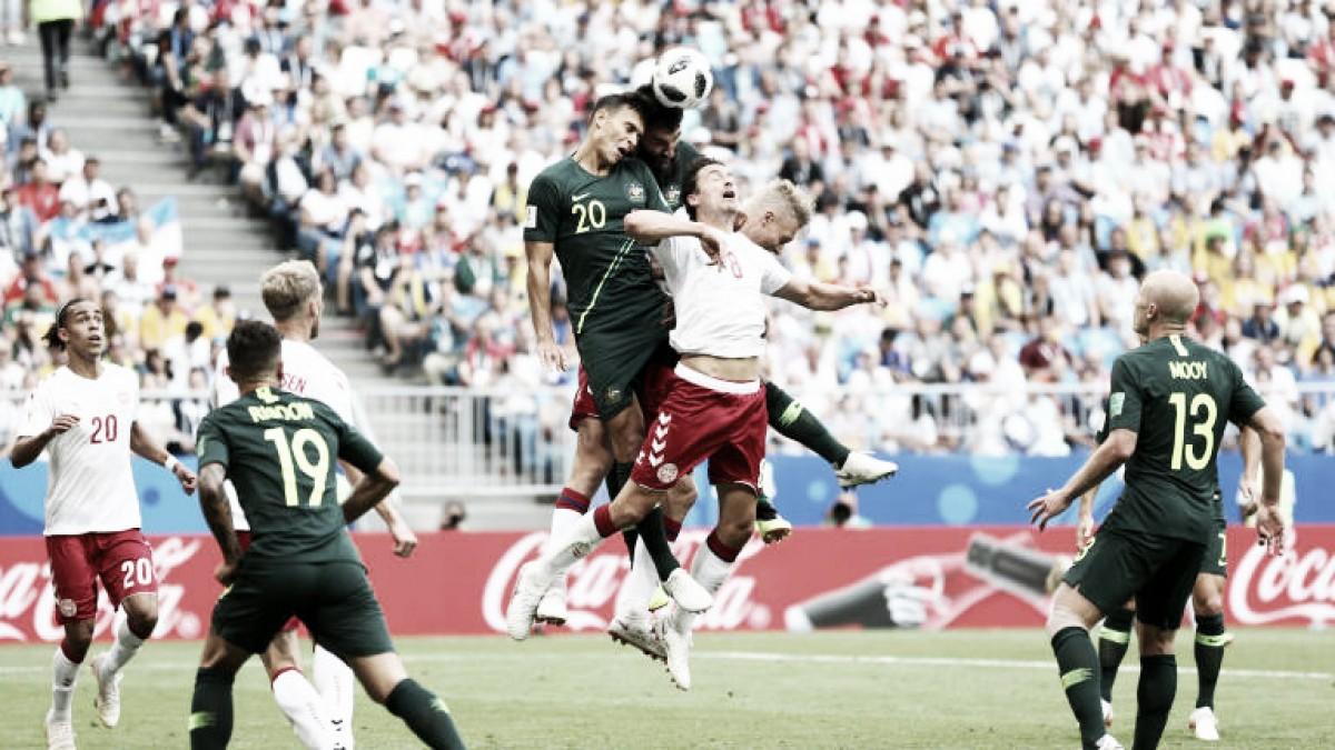Dinamarca e Austrália ficam no empate em movimentado confronto pelo Grupo C