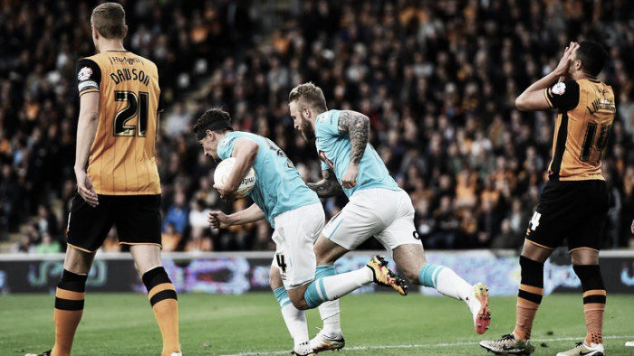 Hull City (3) 0-2 (2) Derby County: Tigers into final despite scare