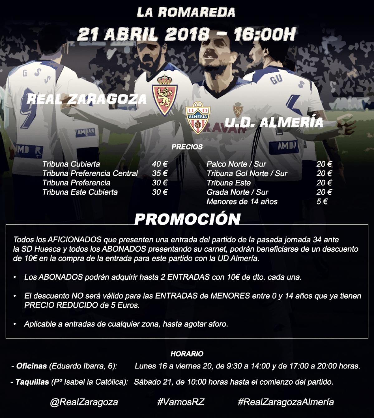 Entradas para el Real Zaragoza - Almería