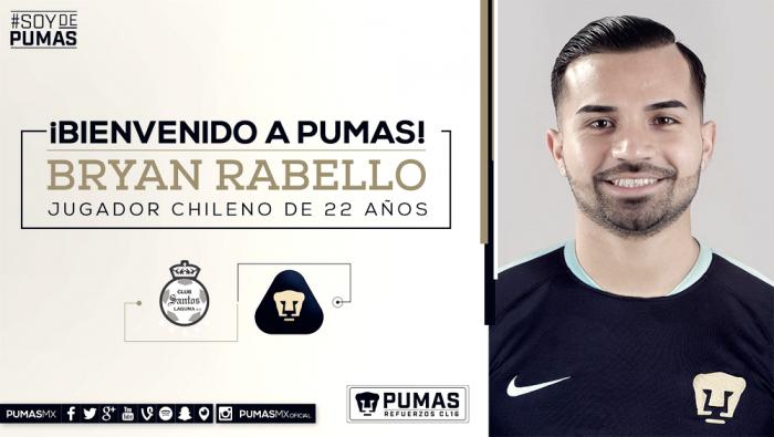 Llegó el primer refuerzo; Bryan Rabello, nuevo jugador de Pumas