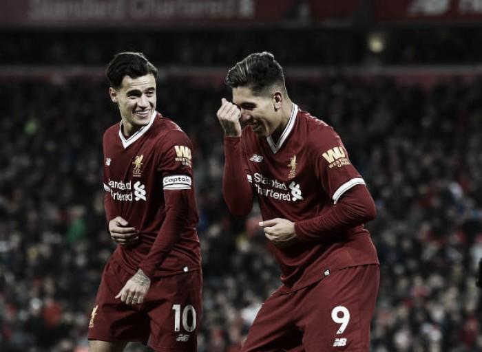 Coutinho e Firmino comandam show do Liverpool em goleada sobre Swansea