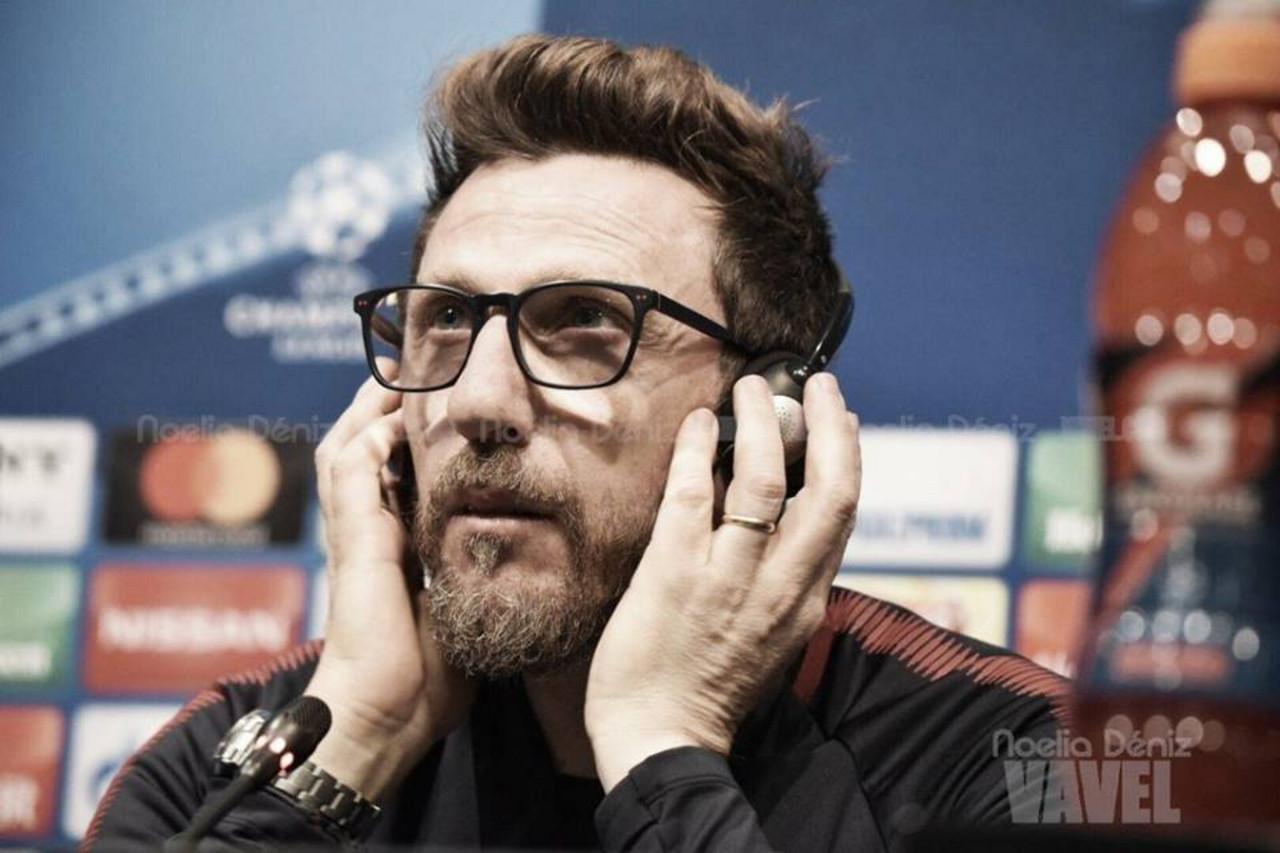 """Roma, Di Francesco in conferenza: """"Dzeko potrebbe andare in panchina, qualche speranza anche per De Rossi"""""""