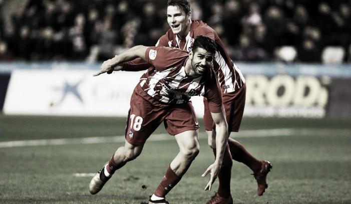Diego Costa mostra satisfação após gol na sua reestreia pelo Atlético de Madrid