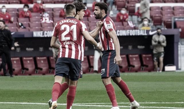 Diego Costa celebrando un gol junto a Joao Felix y Carrasco / FOTO: Atlético de Madrid