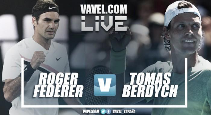 Resultado Roger Federer vs Tomas Berdych en vivo en cuartos del Open de Australia 2018 (3-0)