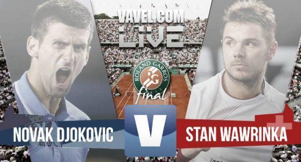 Risultato Djokovic Vs Wawrinka Finale del Roland Garros 2015 (1-3: 6-4; 4-6; 3-6; 4-6)