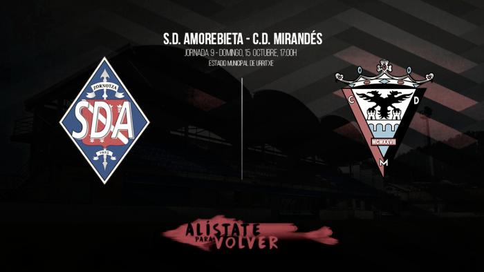 SD Amorebieta - CD Mirandés: los rojillos quieren seguir invictos