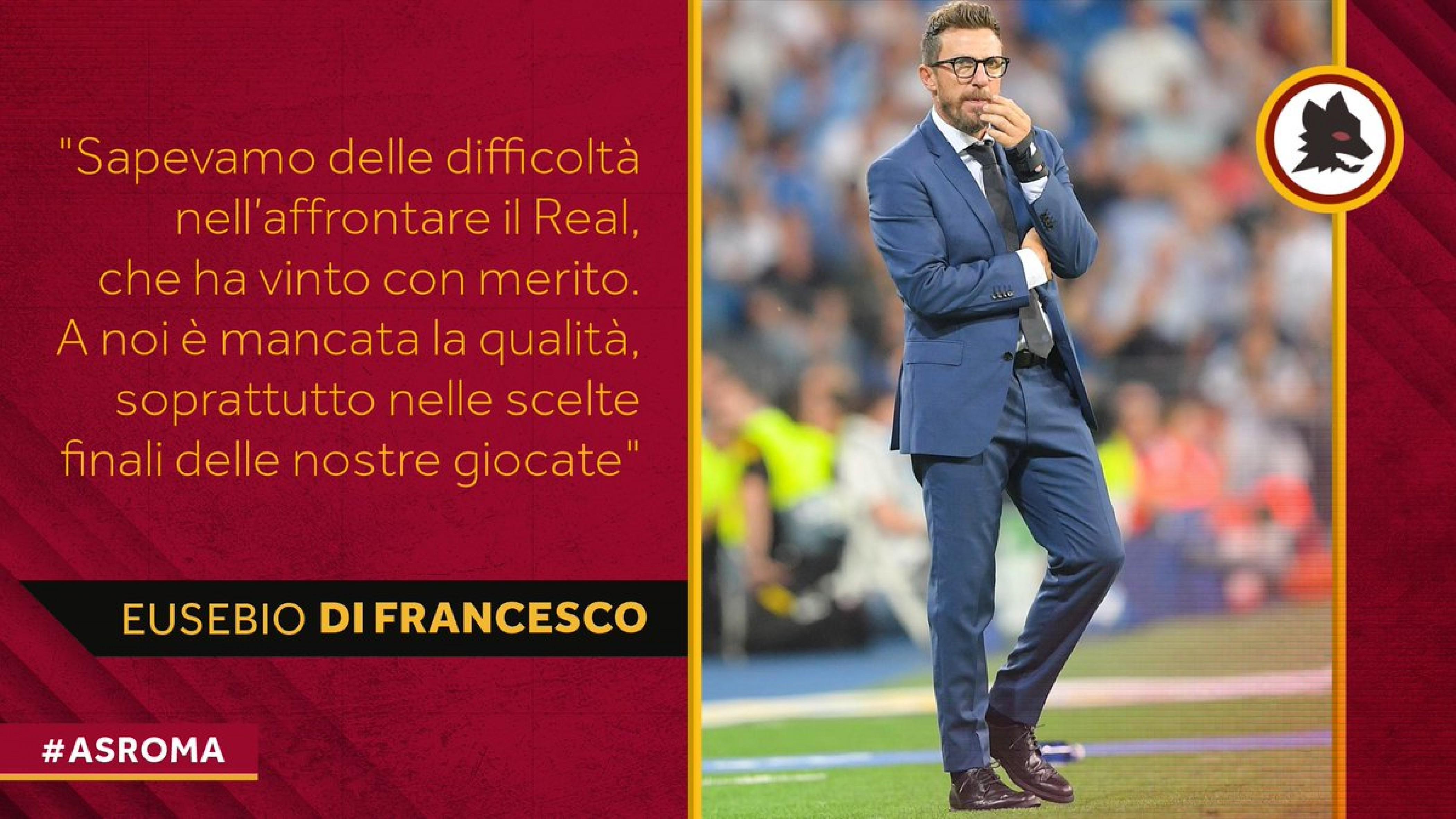 """Real Madrid-Roma 3-0, Di Francesco: """"Troppi errori tecnici, dobbiamo migliorare"""""""
