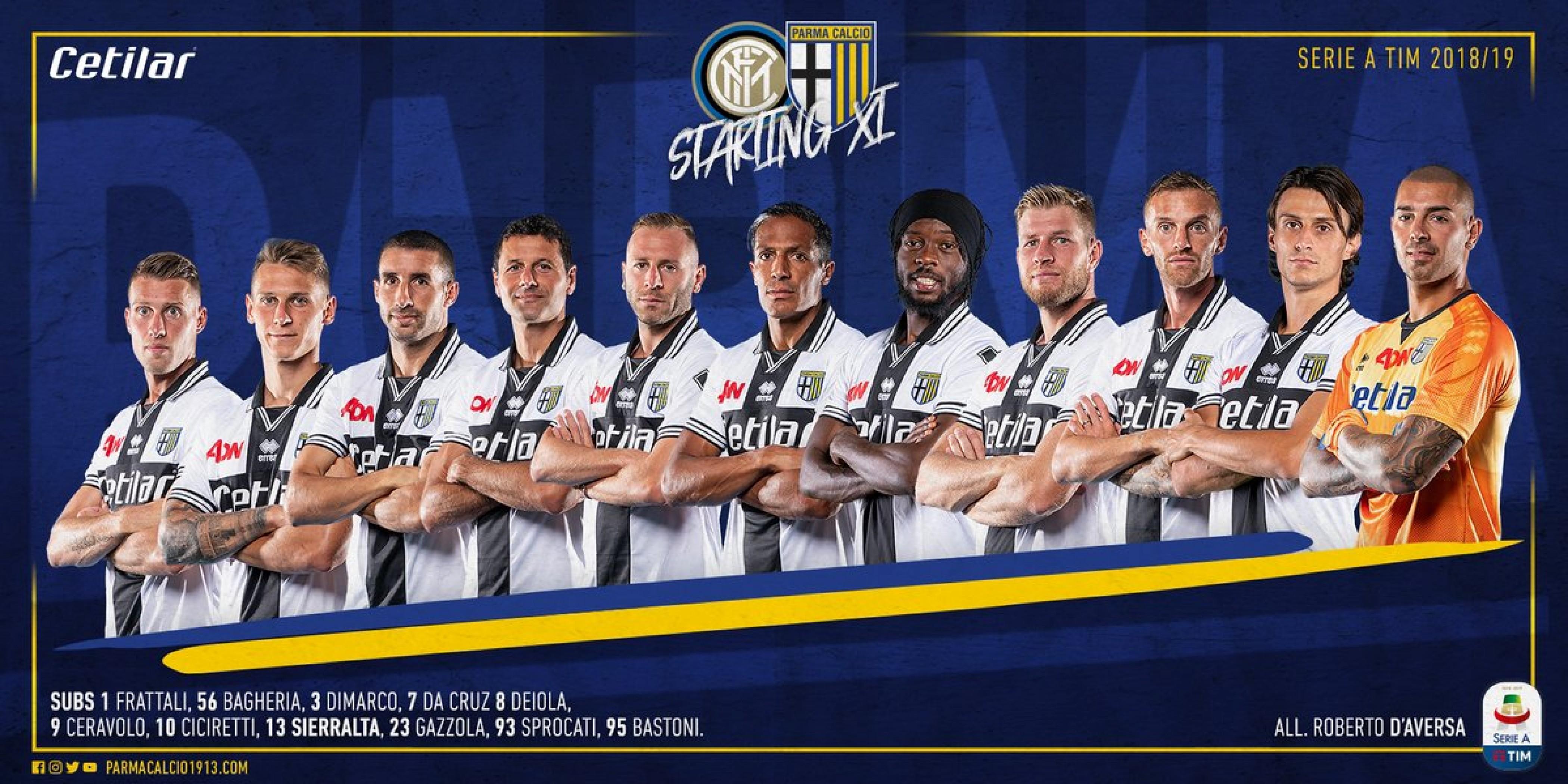 Serie A, le formazioni ufficiali di Inter - Parma